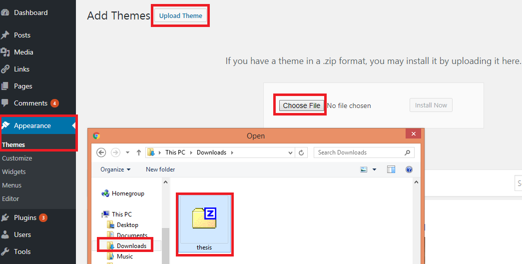Upgrade to new Thesis theme via manual upload