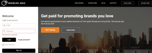 Involve Asia affiliate sign up and login page