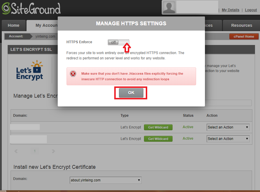 Install SSL via SiteGround hosting